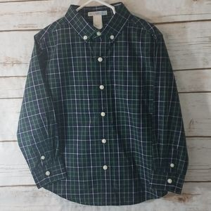 Janie and Jack Green/Blue Button Down Size 4T